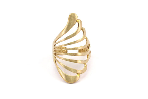 Adjustable Wing Ring - 4 Raw Brass Adjustable Wing Rings N040