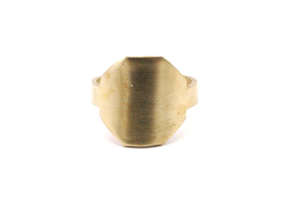 Brass Hexagon Ring - 4 Raw Brass Adjustable Hexagon Ring N109