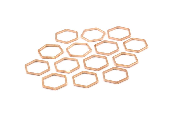 Rose Gold Plated Hexagon Ring Charm, 12 Rose Gold Plated Brass Hexagon Shaped Ring Charms (12x0.8mm) BS 1171