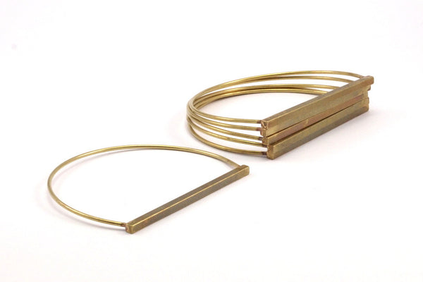 Brass Bar Bracelet, 2 Raw Brass Wire Bracelet with Long Bar BRC169