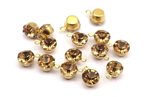 Light Amber Rhinestone Charms, 12 Light Amber Rhinestone Charms with Raw Brass Setting for SS34 (7.3mm)  Y363 Y131