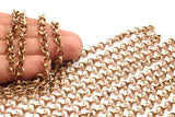 Red Brass Rolo Chain, Soldered Copper Rolo Chain (6mm) MB 8-30