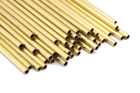 2.5mm Brass Tubes Customize Size - 24 Pcs Raw Brass Tube Beads - 30mm-40mm-50mm-60mm-70mm-80mm-90mm to 350mm