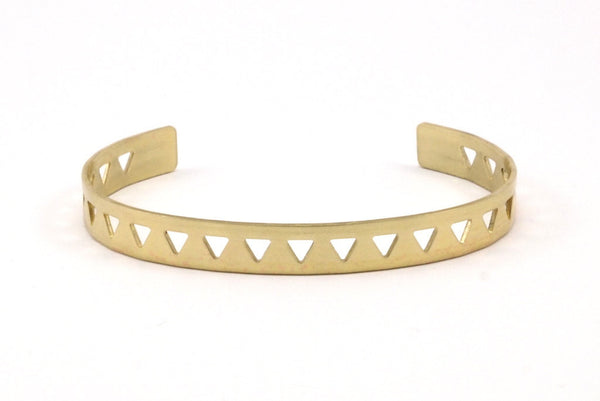 Triangle Cuff Blank - 2 Raw Brass Triangle Textured Cuff Bracelet Blanks Bangle Without Holes (8x152x1mm) V022