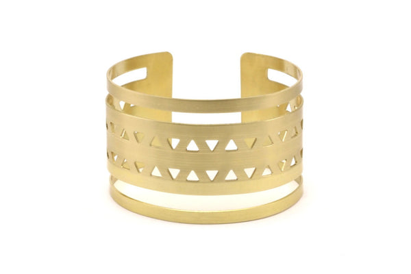 Triangle Bohemian Bracelet - 2 Raw Brass Triangle Textured Cuff Bracelet Blanks Bangles with Two Stripes (40x152x0.80mm) V015