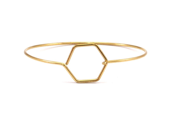 Wire Hexagon Bracelet, 10 Raw Brass Hexagon Wire Bracelets Brc199