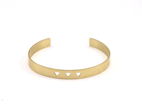 Triangle Cuff Blank - 2 Raw Brass Triangle Textured Cuff Bracelet Blanks Bangle Without Holes (8x152x1mm) V025