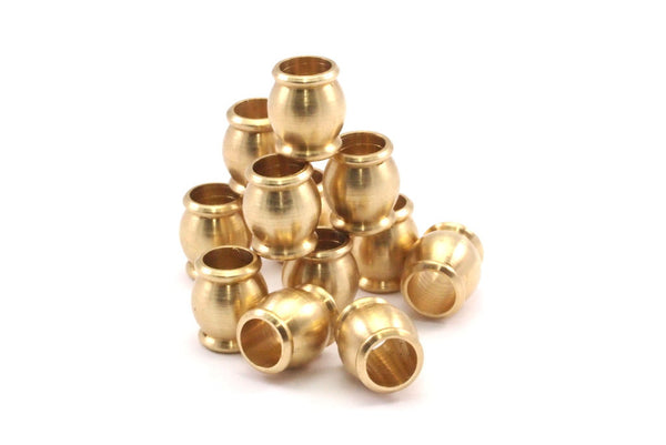 100 Pcs Raw Brass Industrial Findings, Spacer Beads (11x10 Mm) D399