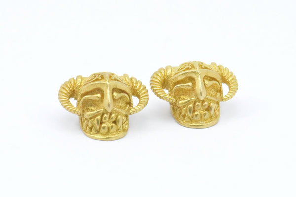 Brass Skull with Horns, 2 Raw Brass Skull Head Bracelet Parts (11.50x19mm) N372