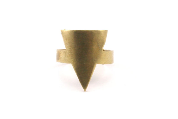 Brass Triangle Ring - 4 Raw Brass Adjustable Geometric Triangle Rings N115