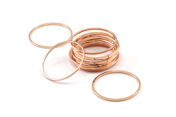 Rose Gold Connector, 12 Rose Gold Plated Brass Circle Connectors, Rings (20mm) Bs-1107