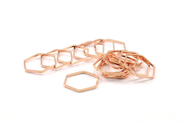 Rose Gold Hexagon, 8 Rose Gold Plated Brass Hexagon Shaped Ring Charms (14x0.80x2mm) BS 1183