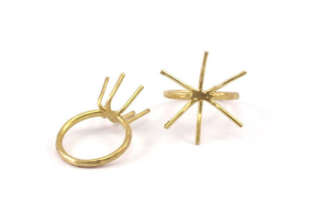 Claw Ring Base, 4 Raw Brass Claw Ring Blanks with 6 Claws for Natural Stones N103