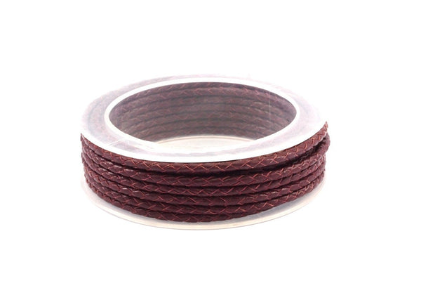 Brown Braided Leather Cord, 1 Meter Brown Braided Leather Cord, Genuine Round Leather Cord (3mm) B3029