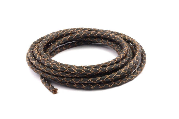 Brown Braided Leather Cord, 1 Meter Leather Cord, Genuine Round Leather Cord (4mm) B4002