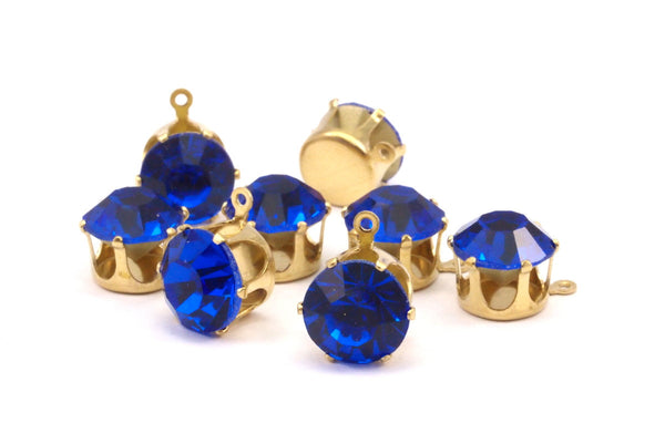 Sapphire Rhinestone Charms, 12 Sapphire 6 Prong Rhinestone Charms with Raw Brass Setting for SS45 (10mm)