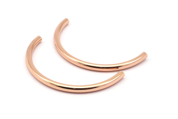 Rose Gold Curved Tubes - 2 Rose Gold Plated Brass Semi Circle Curved Tube Beads (3.5x55mm) D265