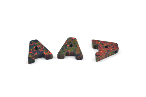 Opal A Letter - Snythetic Opal Initial Letter (10x10x2.50mm)