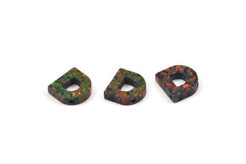 Opal D Letter - Snythetic Opal Initial Letter (10x9.50x2.50mm)