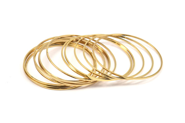 Gold Plated Rings, 8 Gold Plated Brass Circle Connectors (40mm) Bs-1110