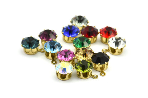 12 Pcs Ss 39 Chaton Charms With 14 Different Colors With 1 Loop (8mm)