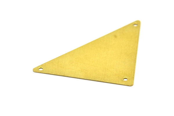 Raw Brass Triangle, 10 Raw Brass Triangle Pendants with 3 Holes (45x35x35mm) Brs 3099 A0046