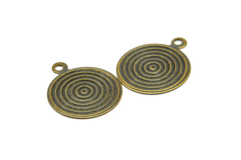 Vintage Earring Finding, 20 Antique Brass Round Spiral Charms, Pendant, Findings (16mm) Pen 135 K048