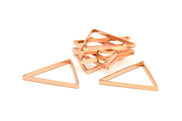 Rose Gold Triangle, 8 Rose Gold Plated Open Triangle Rings, Charms (29x0.8x2mm) BS 1195