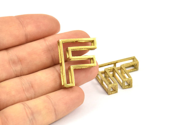 F Letter Pendants, 2 Raw Brass F Letter Alphabets, Initials, Uppercase, Letter Initial Pendant for Personalized Necklaces