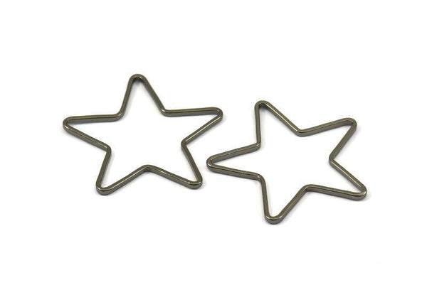 Black Star Charm, 12 Black Plated Brass Open Star Charms (24x0.8x0.6mm) BS 1078