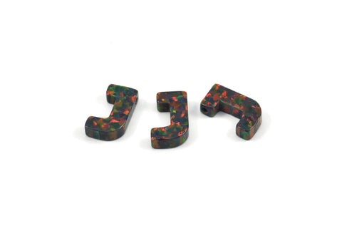 Opal J Letter - Snythetic Opal Initial Letter (10x6x2.50mm)
