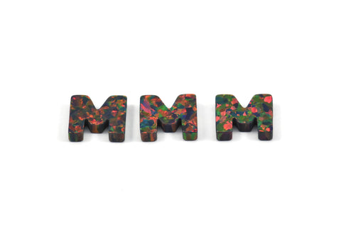 Opal M Letter - Snythetic Opal Initial Letter (10x11x2.50mm)
