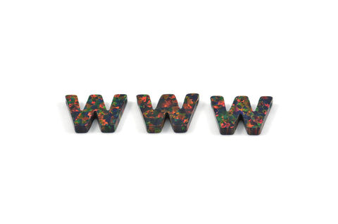 Opal W Letter - Snythetic Opal Initial Letter (10x14x2.50mm)