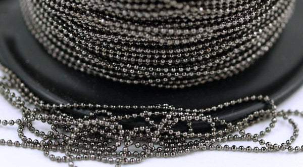 100 Meters 330 Feet 1 Mm Gunmetal Brass Ball Chain ( Z009 )