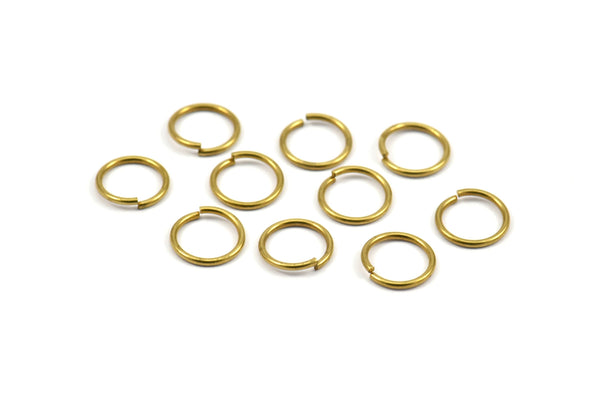 10mm Jump Rings - 100 Raw Brass Jump Rings (10x1mm) A0372