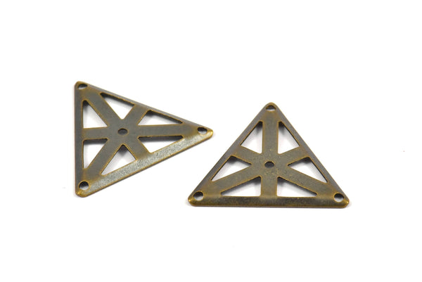 Antique Brass Triangle, 20 Antique Brass Triangle Charms with 4 Holes (22x25mm) Pen 3003  K104