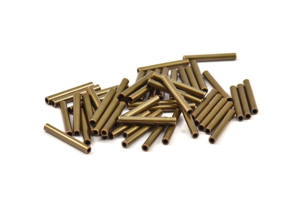 Copper Tube Beads - 100 Antique Bronze Tone Copper Tube Spacer Beads, Charms, Findings (15x2mm)  K193