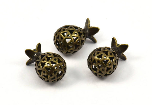 Brass Pomegranate Pendant - 2 Antique Bronze Brass  Pomegranate Pendants (10x17 mm)