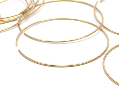 12 Raw Brass Wire Hoops (60x1.2mm) Bs 1233