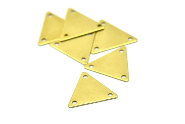 3 Holes Triangle, 50 Raw Brass Triangle Charms With 3 Holes (12x14mm) A0017