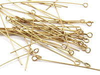 Brass Bead Pin, 100 Raw Brass Eye Pins, Findings (50x0.7mm) Bs 1156