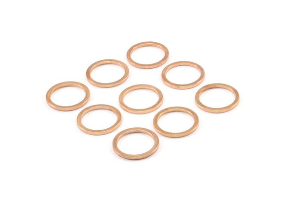 Rose Gold Circle Ring, 12 Rose Gold Plated Brass Round Rings, Charms (12mm) B0119