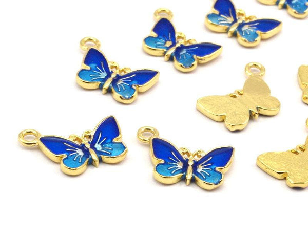 Brass Enamel Butterfly Pendant - 2 Pcs (14x10mm) L08