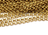 3 M. Raw Brass Open Link Rolo Chain , ( 3.2mm ) Bs 1017