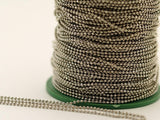 Silver Brass Chain, 20 Meters 66 Feet 1.5 Mm Silver Tone Brass Faceted Ball Chain - W71