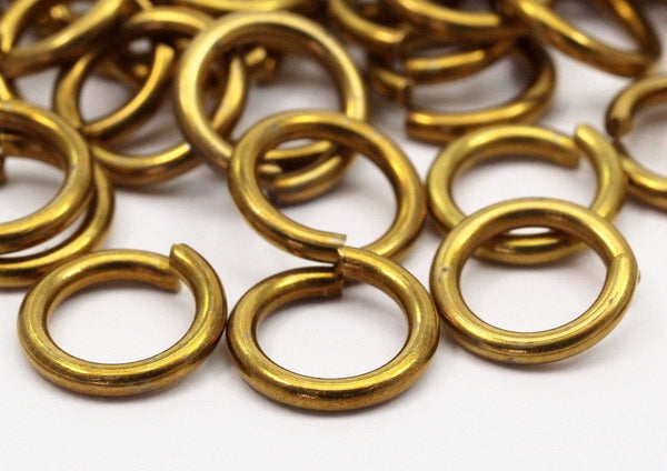 10mm Jump Rings - 100 Raw Brass Jump Rings 10x1.5 Mm D231