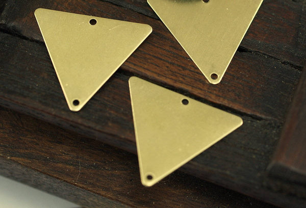 Hippi Triangle Brass, 20 Raw Brass Triangle Charms With 2 Holes (22x25mm) Brs 3028-2 A0085