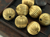 5 Vintage Raw Brass Crimped Textured 16 Mm Round Hollow Beads K464