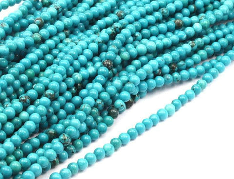 1 Strand Turquoise (4mm) Round Gemstone Round Beads 15.5 Inches G254 T002