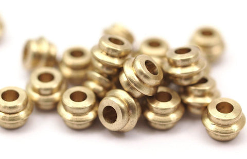 20 Pcs Raw Brass Industrial Tubes, Spacer Beads, Findings (5.5x8 Mm) D078